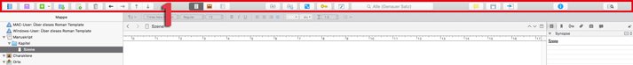 Scrivener Symbolleiste Mac