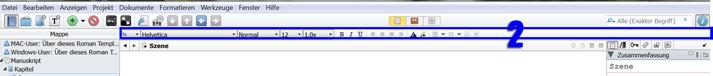 Formatierungswerkzeugleiste Scrivener Windows