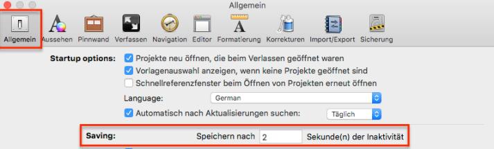 Scrivener Einstellungen fürs Speichern bei Mac