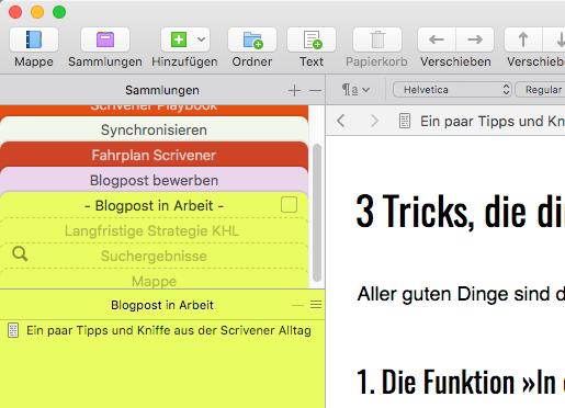 Screenshot Sammlung Scrivener