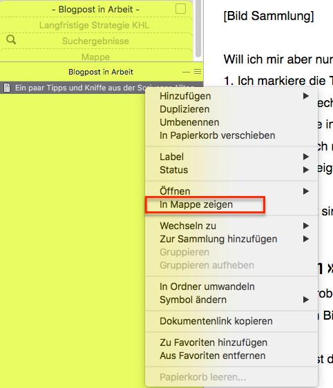 Befehl in Mappe anzeigen Scrivener