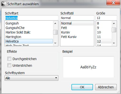 Auswahl Schriftart Scrivener Windows