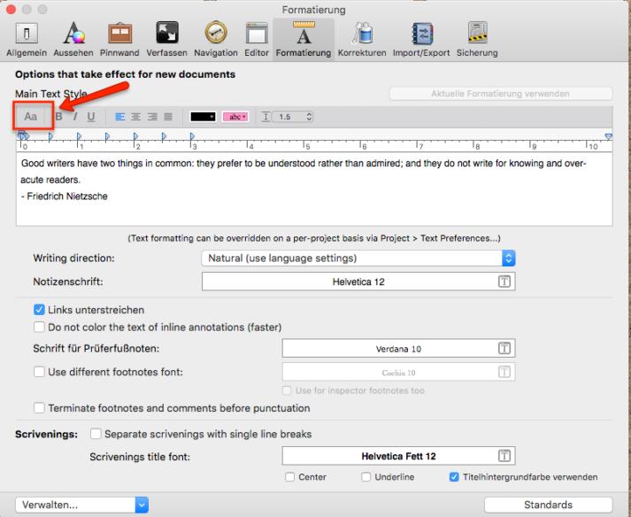 Schriftart ändern Scrivener Mac