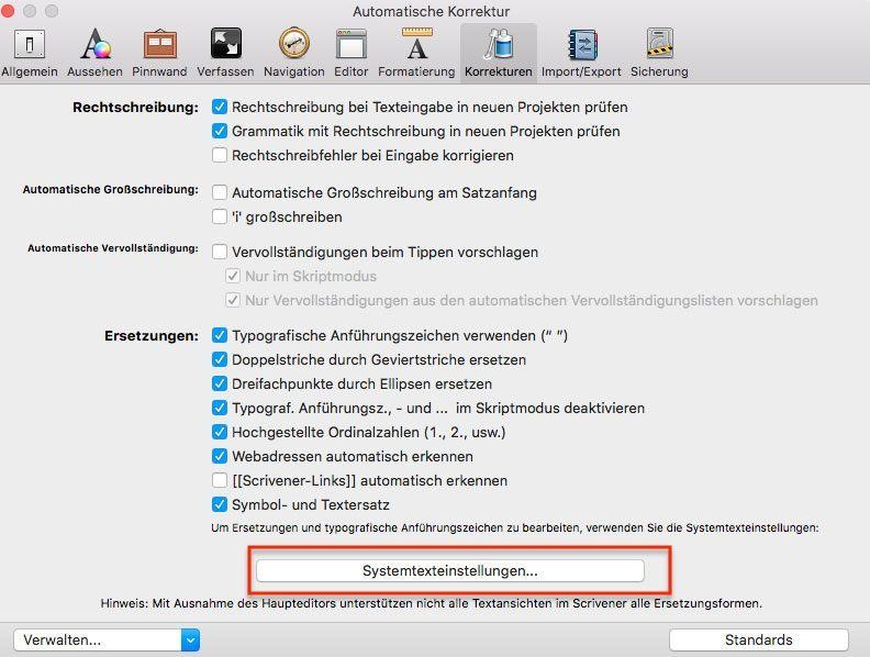 Anführungszeichnen Scrivener Mac 2