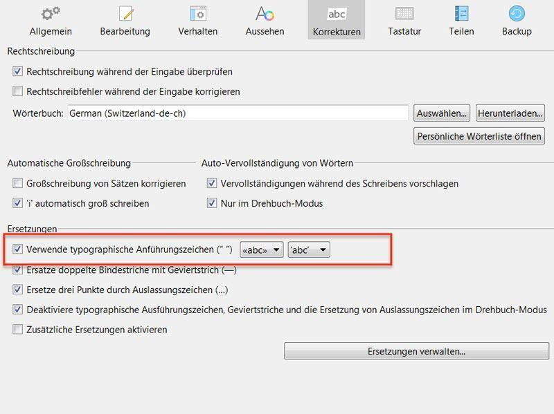 Anführungszeichen Scrivener 3 Windows